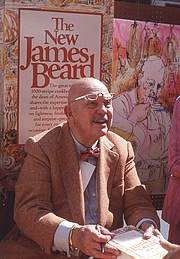 Author photo. From Wikipedia, by Bill Golladay: James Beard signing books at a street fair in midtown Manhattan in 1981.