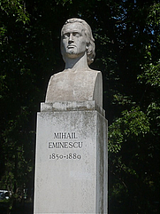 Author photo. Statue of Mihai Eminescu in Cismigiu Gardens, Bucuresti. Photographer unknown.