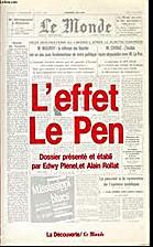 L'Effet Le Pen by Edwy Plenel