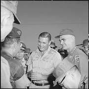 Author photo. McNamara and General Westmorland in Vietnam. Photo by J. F. Fraley (1965)