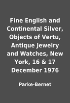 Fine English and Continental Silver, Objects…
