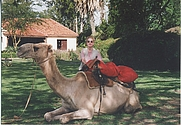Author photo. This is me (hoping that my camel is friendly)...getting ready to head out on safari