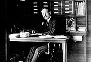 Author photo. American astronomer George Ellery Hale (1868-1938) in his office at Mount Wilson Observatory, about 1905.