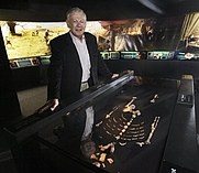 "Author photo. Dr. Donald Johanson, founding director of the Institute of Human Origins at Arizona State University, poses with his discovery, the 3.2 million-year-old Lucy skeleton, part of the ""Lucy's Legacy: The Hidden Treasures of Ethiopia"" exhibit at the Discovery Times Square Exposition in New York, Wednesday June 24, 2009."