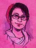 Author photo. Picture of Lexxy Douglass drawn by the illustrator herself.