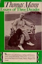 Thomas Mann Essays of Three Decades