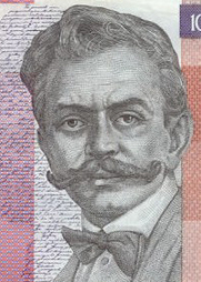 Author photo. Engraving on the 10000-tolar banknote