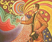Author photo. Paul Signac, Portrait of Félix Fénéon (in front of an enamel of a rhythmic background of measures and angles, shades and colors), 1890