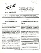 ACT UP Los Angeles Newsletter of the AIDS…
