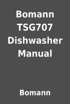 Bomann TSG707 Dishwasher Manual by Bomann