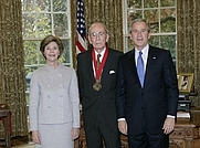 Author photo. Walter Berns, receiving the National Humanities Medal, 2005. White House photo by Eric Draper.