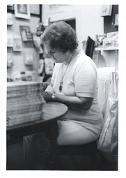 Author photo. Doris Buchanan Smith autographing A Taste of Blackberries, 1973, Brunswick, GA. Photo: Randy Smith