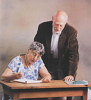 Author photo. Cecile DeWitt with Bryce DeWitt, via Wikipedia user Brandon dinunno