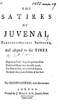 The satires of Juvenal paraphrastically…