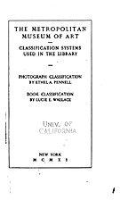 Classification systems used in the Library…