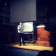 Author photo. Manuel De Landa talking at a lecture in Amsterdam in 2011