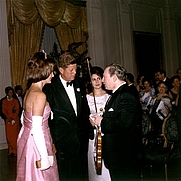 Author photo. 11 May 1962  dinner for the French Minister of State for Cultural Affairs, Andre Malraux. Mrs. Kennedy, President Kennedy, and Madame Malraux congratulate violinist Isaac Stern. Photo  by Robert Knudsen, in the JFK Library