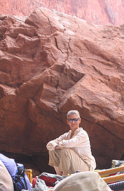 Author photo. Rebecca Lawton in Havasu Creek eddy, Grand Canyon. Photograph by Krista Preston.