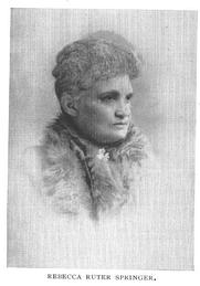 Author photo. Rebecca Ruter Springer (1834-1904); Buffalo Electrotype and Engraving Co., Buffalo, N.Y.