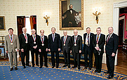 Author photo. Stephen J. Lippard (4th from left) receives the National Medal of Science in 2004 (National Science Foundation)