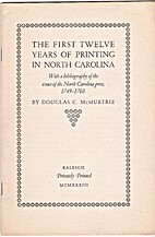 The First Twelve Years of Printing in North…