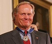 Author photo. President Bush presents PGA champion Jack Nicklaus with the Presidential Medal of Freedom Wednesday, Nov. 9, 2005, during ceremonies at the White House. White House photo by Shealah Craighead (whitehouse.gov)