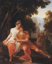 Author photo. <i>Propertius and Cynthia at Tivoli</i> by Auguste Jean Baptiste Vinchon