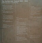 the architecture annual 2003-2004, Delft…