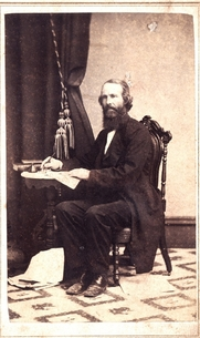 Author photo. Russell Thacher Trall's – autographed 1860s Carte de Visite – the original is in The Ernest Bell Library.