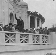 Author photo. Edmond Meany addressing exposition stockholders, president of the Alaska-Yukon-Pacific Exposition, Seattle, Washington, September 19, 1908, by Frank H. Nowell.