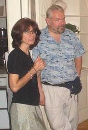 Author photo. Kathe Koja (left) with Walter Jon Williams, 2005 [credit: Cory Doctorow]
