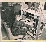 Author photo. Harriet Tidball weaving