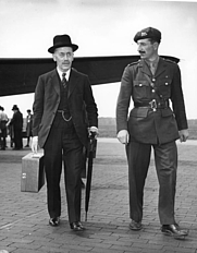 Author photo. Sir Alexander Cadogan (left) and Colonel David Bevan leave Gatow airport during Potsdam Conference, July 15, 1945.