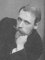Author photo. Walter Crane. Detail of photo by Frederick Hollyer (1837-1933) From the album Portraits of Many Persons of Note, 1886. Wikimedia Commons.