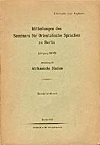 Das Tschi und das Guang [Offprint from MSOS…