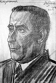 Author photo. Herman Heyermans, crayon drawing, signed t.r.: 'J.TH.TOOROP / 1914 / AMST., inscribed t.l.: H. HEYERMANS. [credit: Rijksbureau voor Kunsthistorische Documentatie]