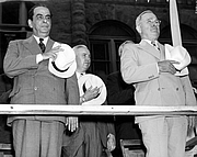 Author photo. Gallegos (left) with Harry S. Truman. <a href=&quot;http://www.trumanlibrary.org/photographs/view.php?id=19247&quot;>Harry S. Truman Library & Museum</a>