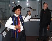 Author photo. Father Abramham Lotha with Bishop Franz Scharl at Naga exhibition in the Museum für Völkerkunde in Vienna in 2012 (Photographer John D. Marshall)