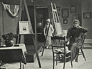 Author photo. Kate Greenaway in her studio, 1895<br>Courtesy of the <a href=&quot;http://digitalgallery.nypl.org/nypldigital/id?834185&quot;>NYPL Digital Gallery</a><br>(image use requires permission from the New York Public Library)