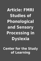 Article: FMRI Studies of Phonological and…