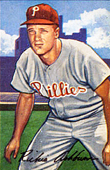 Author photo. Ashburn's 1952 Bowman Gum baseball card. [Source: Bowman Gum, grabbed from Wikipedia]
