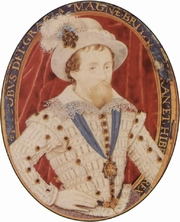 Author photo. King James I of England, watercolor by Nicholas Hilliard.
