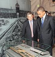 Author photo. Avner Shalev tours Barack Obama, in Yad Vesham