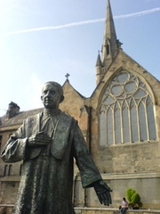 Author photo. Statue of Basil Cardinal Hume, Newcastle-upon-Tyne.  Image by Marie Griffiths / English Wikipedia.