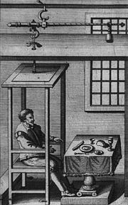 Author photo. Santorio Santorio seated in weighing chair in front of table, part of his quantitative approach to medicine: Library of Congress Rare Book and Special Collections Division