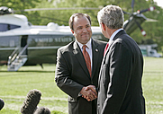 Author photo. White House Press Secretary Scott McClellan and President Bush announce that Mr. McClellan is resigning his position on the South Lawn Wednesday, April 19, 2006. White House photo by Eric Draper  (whitehouse.gov)