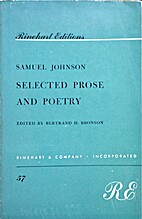 Samuel Johnson Selected Prose and Poetry by…