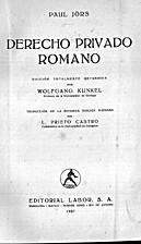 Derecho privado romano by Paul Jörs