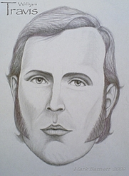 Author photo. William B. Travis, drawn by Mark Barnett.