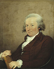 Author photo. John Trumbull poet 1793 by his cousin of the same name.